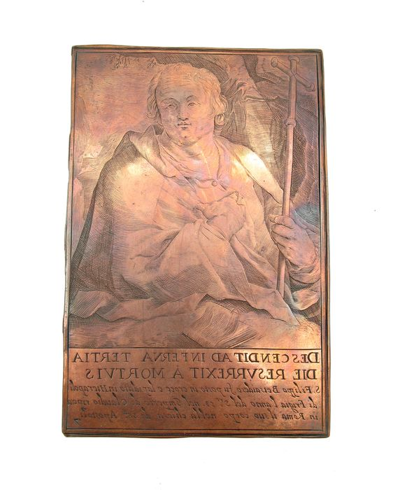 Ancient engraved burin matrix depicting Martyr St. Philip - Copper - 18th century