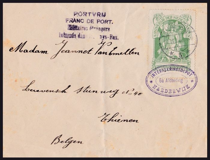 Netherlands 1916 - Internment camp stamp on letter - NVPH IN1