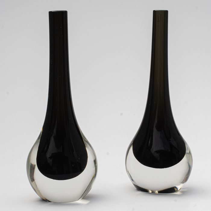 Cenedese - Two Sommerso Vases - Signed - Height 15,5 cm & 15,5 cm - Glass