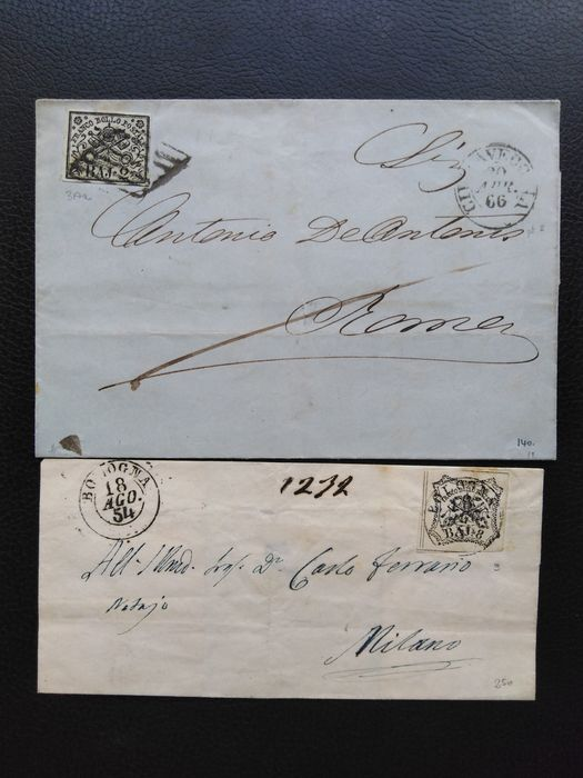 Italien - Papal States 1852/68. 8 envelopes with values of the three issues. - Sassone 3A,3Ab,9,17,26,27.
