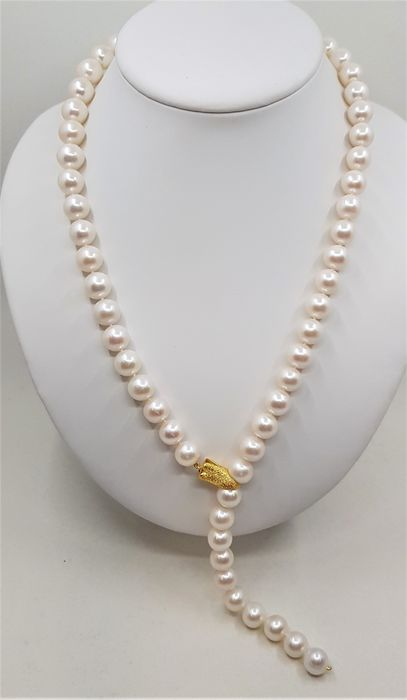 No reserve price - 925 Silver - 11x12mm White Cultured Pearls - Long Necklace