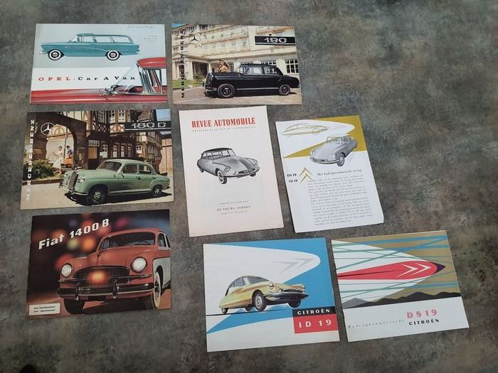 Brochures / catalogues - 8 Car Classic Car Posters Affisches - Citroën, Fiat, Mercedes-Benz, Opel - 1950-1960