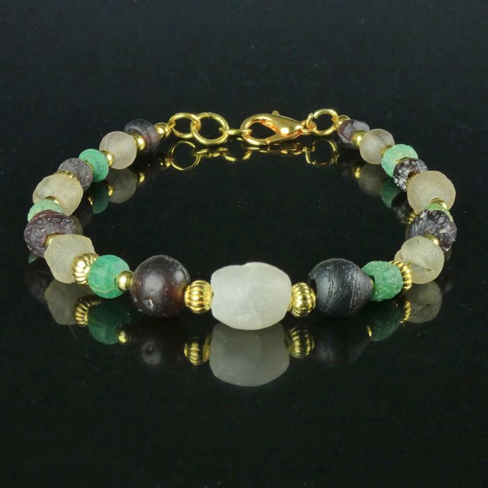 Ancient Roman Glass Bracelet with Roman green, purple , white glass beads - (1)