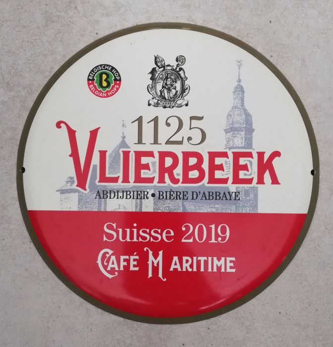 "Rare advertising panel ""Vlierbeek 1125 - Abbey Beer"" (1) - Metal"