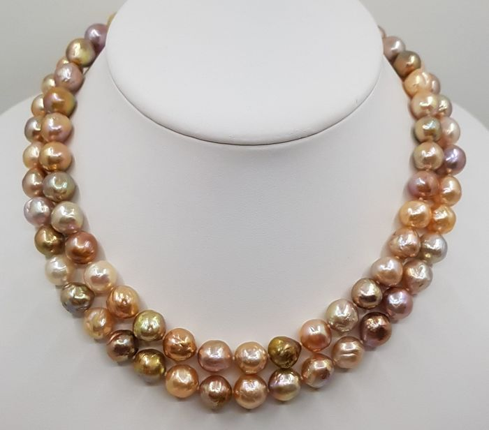 No Reserve Price - 925 Silver - 9x11mm Shimmering Multi Edison Pearls - Necklace