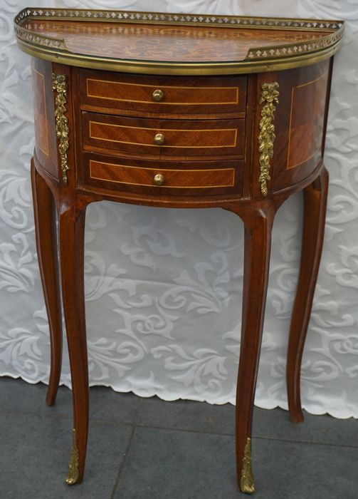 Table Ambulatory - semicircle chest of drawers in marquetry - Louis XVI Style