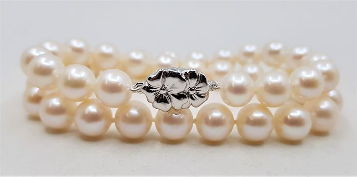 No reserve price - 925 Silver - 9x10mm Lustrous Freshwater Pearls - Bracelet