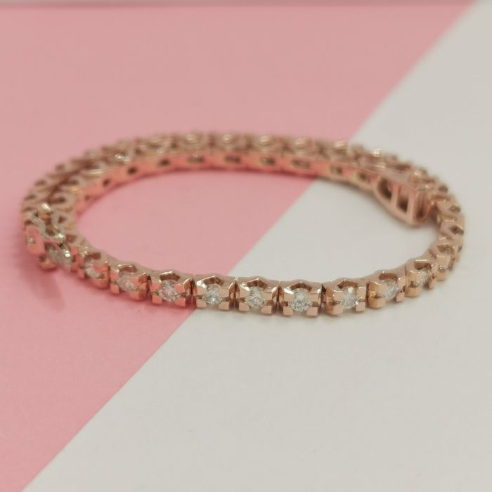 14 kt. Pink gold - Bracelet - 3.15 ct Diamond - AIG