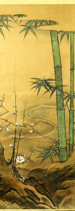 Hängende Rollenmalerei - Papier - 'Sesson' 雪村 - Bamboo and Ume tree - With tsubo (vessel)-shaped seal 'Sesson' 雪村 - Japan - Meiji Periode (1868-1912)