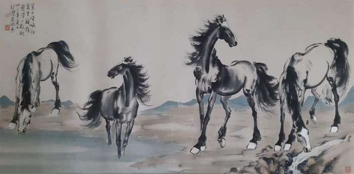 "Inktschildering - Rijstpapier - 《徐悲鸿-四骏图》""Four horses"" made after Xu Beihong - China - Tweede helft 20e eeuw"