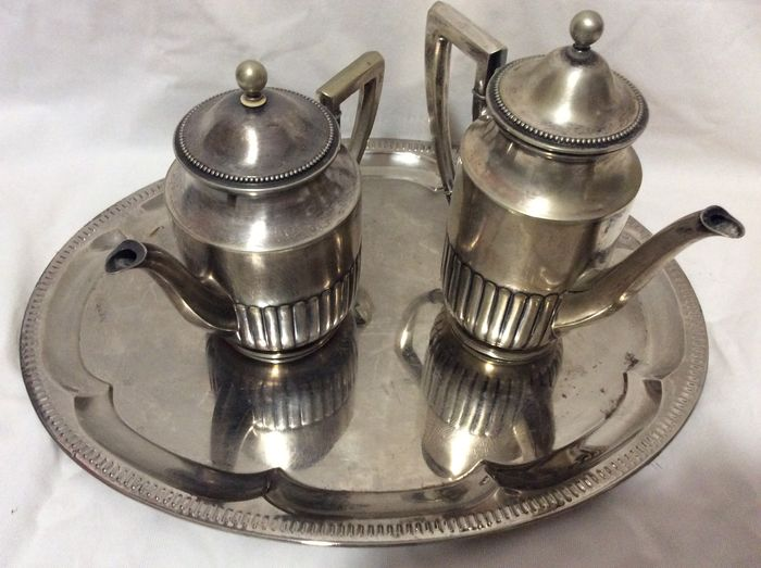 Beautiful signed antique Serving tray tea and coffee pot - Baroque - Floreat Alpacca silver plated