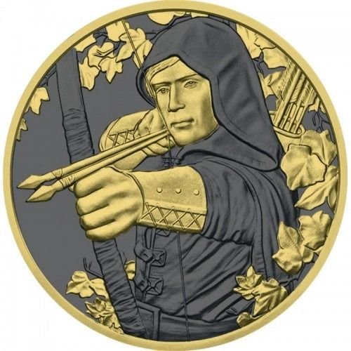Austria - 1,5 Euro 2019 'Robin Hood' - type Yellow Gold & Ruthenium - with Box and Coa - Silver