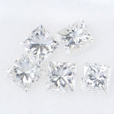5 pcs Diamant - 1.10 ct - Prinzess - G, H - VS2 SI1    GWLAB certified    ** No Reserve Price **
