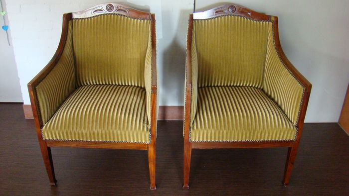 Two French armchairs / two chairs (4) - Art Nouveau - Wood, Mahogany