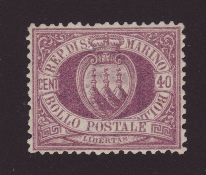 "San Marino 1877 - San Marino 40 cents ""COAT OF ARMS"" No. 7 - Sassone N.7"