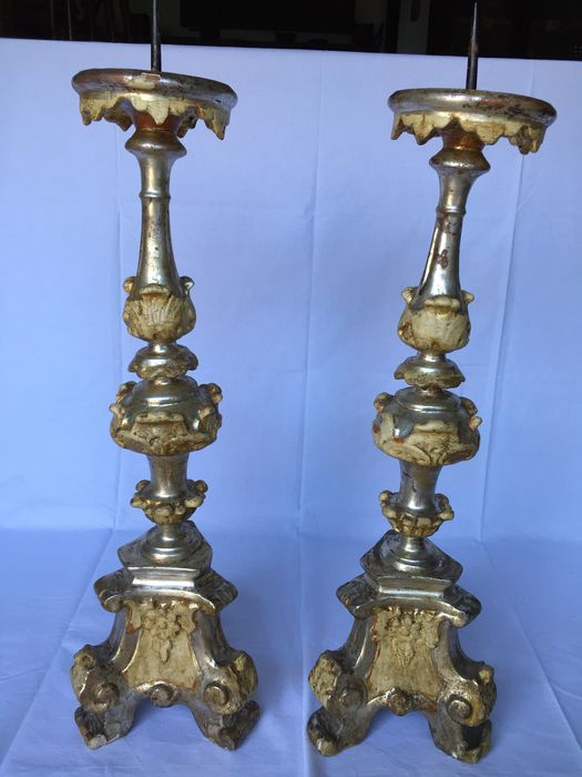 Candlestick (2) - Baroque - Silver plated, Wood - Late 18th century