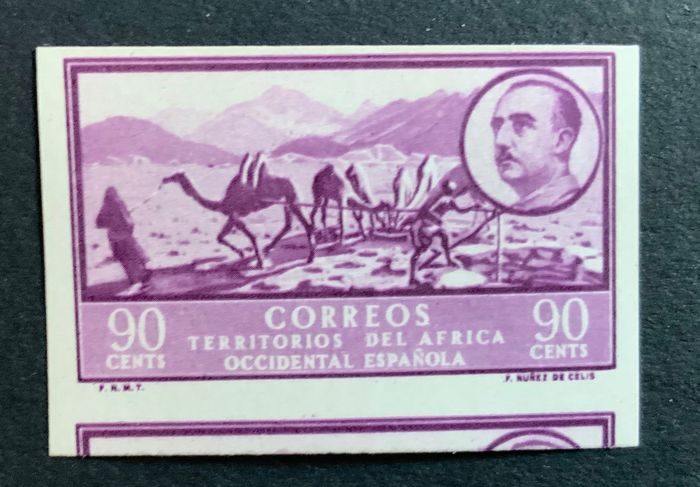 Spanisch-Westafrika 1948 - Franco colour error and imperforated - Edifil 13 ecs