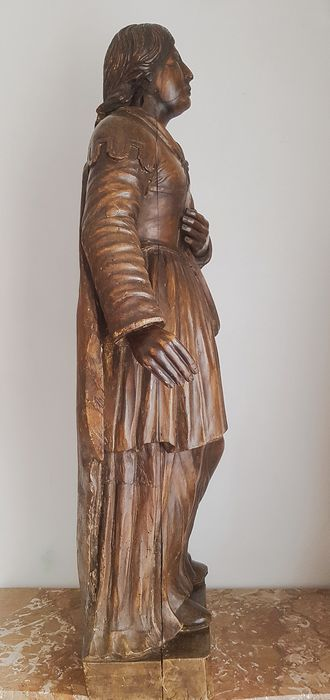 Image 3 of Saint, Large hand-sculpted statue - 95 cm (1) - Limewood - 17th century