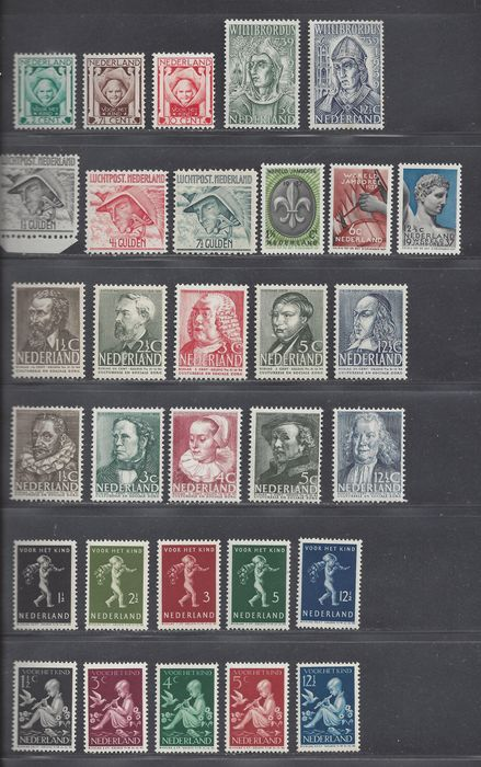 Netherlands 1923/1939 - Eight complete issues - NVPH 141/143, 293/295, 305/309, 313/324, 327/331, LP6/LP8