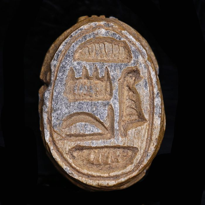 Ancient Egyptian Steatite Scarab dedicated to Amun from the Mustaki Collection
