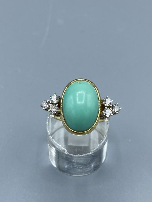 14 kt. Gold - Ring - 13.60 ct Turquoise - Diamonds