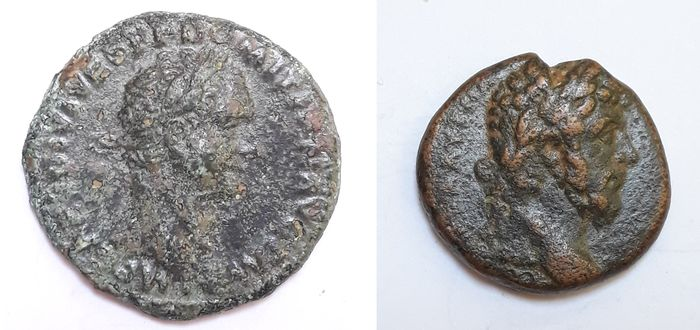 Roman Empire - Lot of 2 AE coins: Cyrrhestica. AE22, Marcus Aurelius (AD 161-180) / As, Domitian (AD 81-96)