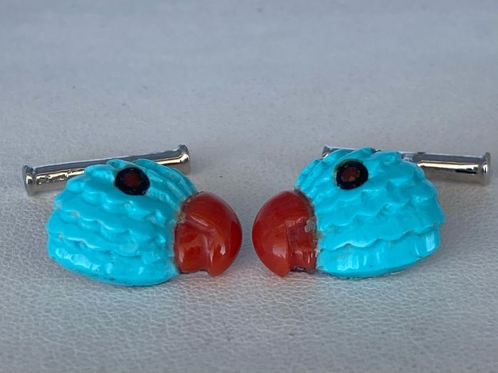 18 kt. White gold, Turquoise, coral - Cufflinks Diamond