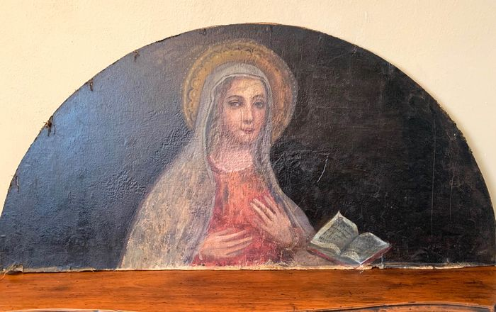 """Painting, """"Virgin Mary"""" / Fragment - Oil painting on canvas - Late 18th century"""