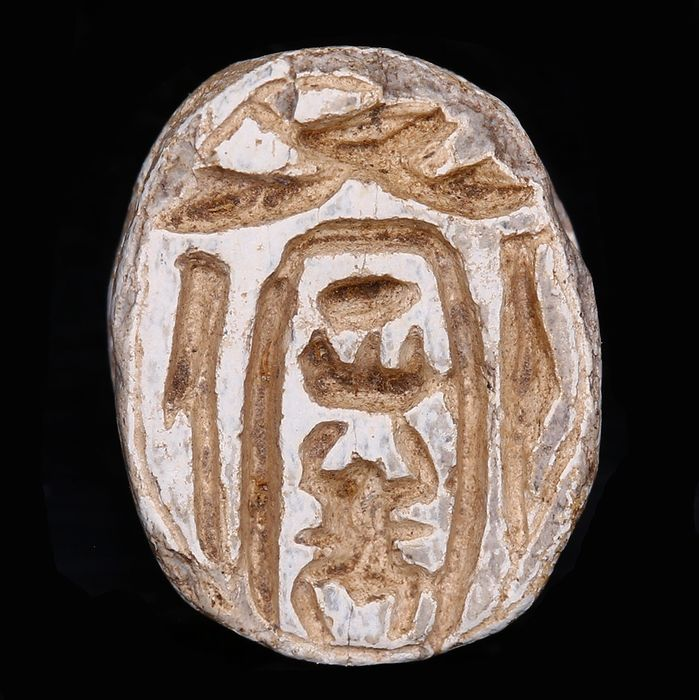 Ancient Egyptian Steatite Scarab with Men-Kheper-Re Cartouche from the Mustaki Collection
