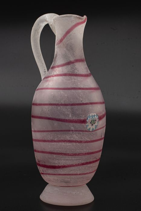 Cenedese - Vase With Red Spiral & Murrine - Vetro A Scavo - Signed - Height 17 cm - Glass