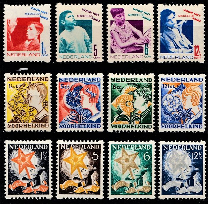 Netherlands 1931/1933 - Syncopated Children's Aid stamps - NVPH R90/R93, R94/R97, R98/R101