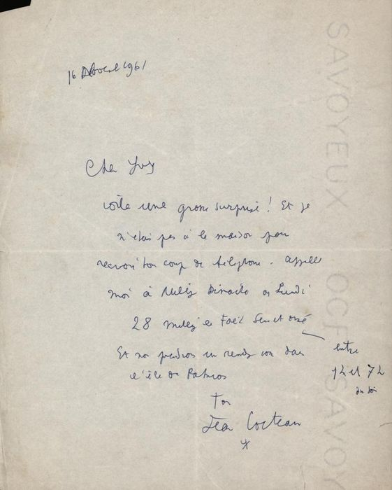 Jean Cocteau French Writer - Autograph; Letter with Request to schedule a Meeting on the Island of Patmos - 1961