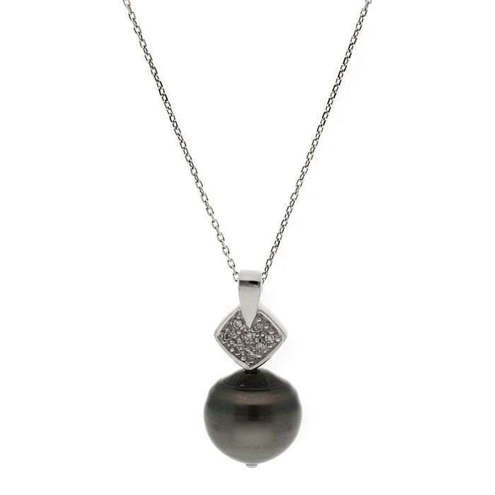 18 kt. Tahitian pearl, White gold - Necklace with pendant - 0.20 ct Diamond
