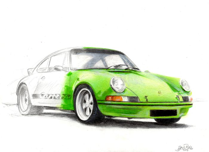 Original drawing - Porsche 911 RS by Baes gerald - Certificat d'authenticité - Porsche, Baes Gerald - After 2000