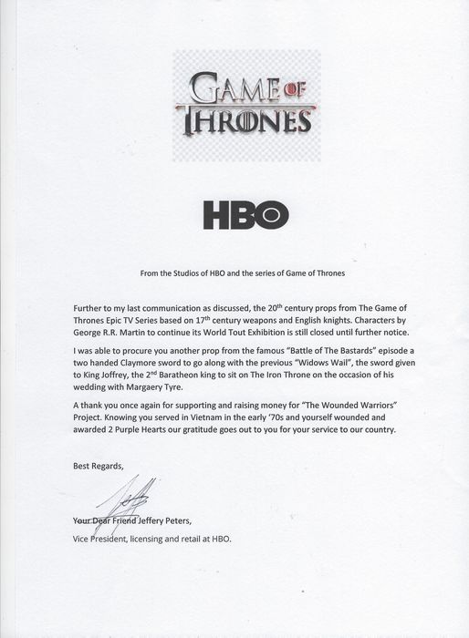 """Game of Thrones - Original Movie Prop - Screen Used - Two Handed Black Knight Claymore Sword  - 1 - Used in the Episode """"Battle of The Bastards"""" - with Original HBO Letter of Authenticity"""