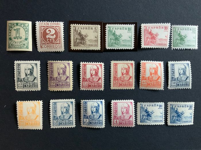 Spanien 1937/1940 - Complete set, numerals, Cid and Isabella - Edifil 814/31