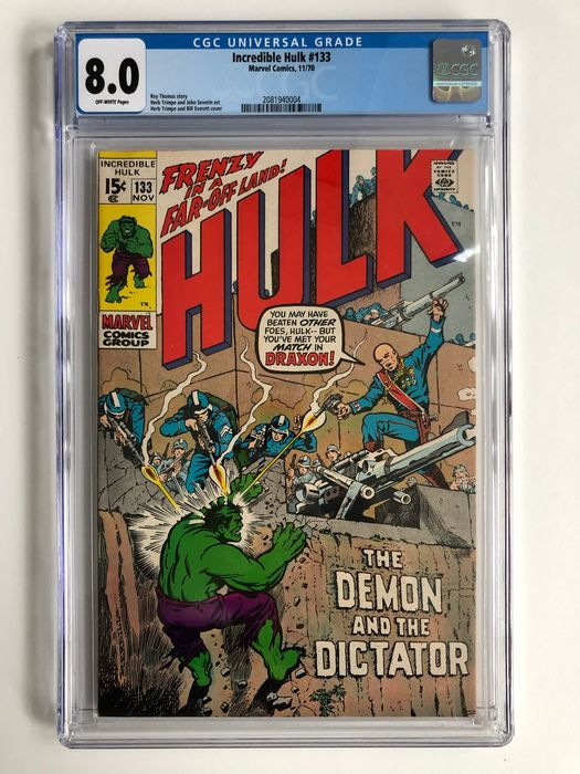 The Incredible Hulk #133 - The Demon And The Dictator - CGC Graded 8.0 - High Grade!!  - Softcover - Erstausgabe - (1970)