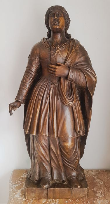 Image 2 of Saint, Large hand-sculpted statue - 95 cm (1) - Limewood - 17th century
