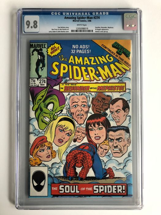 The Amazing Spider-Man #274 - Zarathos, Beyonder, Mephisto & Kingpin Appearance - CGC Graded 9.8 - Extremely High Grade!!! - White Pages!! - Softcover - Erstausgabe - (1986)