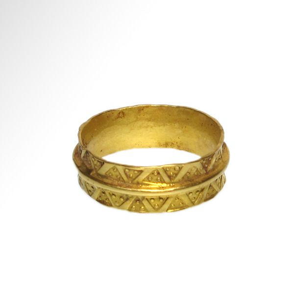 Viking Gold Ring with Punched Decoration,