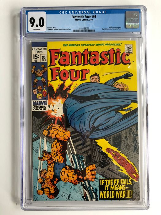 The Fantastic Four #95 - Medusa Appearance - Crystal Leaves The Fantastic Four - CGC Graded 9.0 - Very High Grade!! - White Pages!! - Softcover - Erstausgabe - (1970)