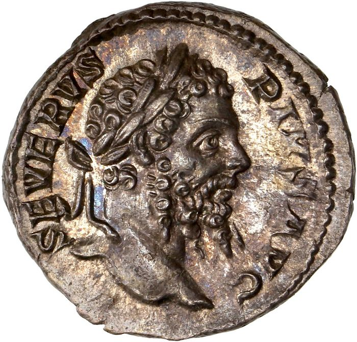 Roman Empire - AR Denarius, Septimius Severus (AD 193-211) Rome - Jupiter standing right