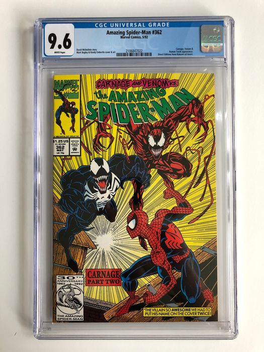 The Amazing Spider-Man #362 - 2nd Appearance of Carnage!!!! - CGC Graded 9.6! - Extremely High Grade!! - White Pages! - Softcover - Erstausgabe - (1992)