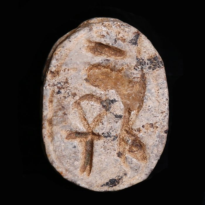 Ancient Egyptian Steatite Scarab with a Sphinx from the Mustaki Collection