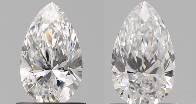 2 pcs Diamanten - 1.40 ct - Birne - D (farblos), E - VS1, VS2