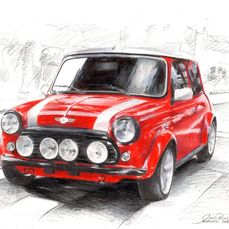 Originele tekening - Mini by Baes - Certificat d'authenticité - Mini - Na 2000