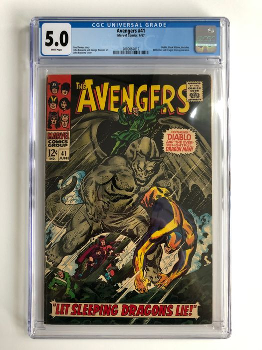 The Avengers #41 - Diablo, Black Widow, Hercules, Dragon Man Appearance - CGC Graded 5.0 - Mid Grade!! - White Pages! - Softcover - Erstausgabe - (1967)