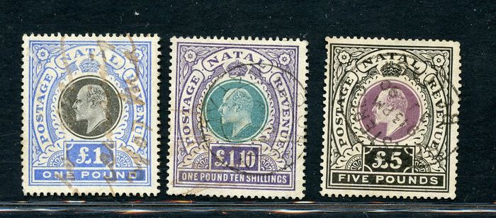 British Colonies: Natal 1902 - £1 - £1.10 - £5 - Effigy of Edward - Stanley Gibbons NN. 142 - 143 -144