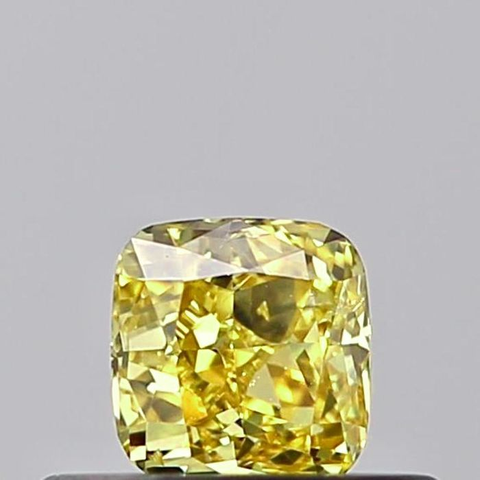 1 pcs Diamant - 0.30 ct - Kissen - fancy vivid yellow - SI2