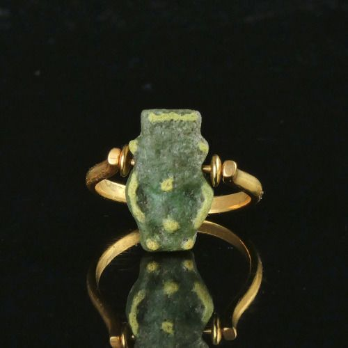 Ancient Egyptian Faience Ring with faience Bes amulet - (1)